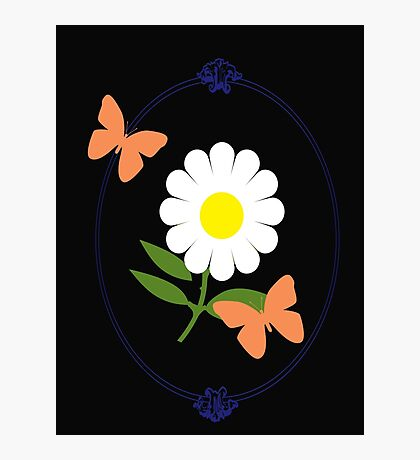 Daisy Butterfly Frame Photographic Print
