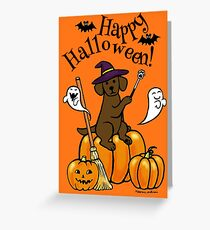 Halloween Chocolate Labrador Magic Wand Greeting Card