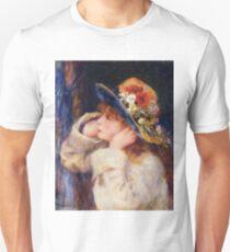 Vintage Pierre Auguste Renoir Hat with Wildflowers 1880 Fine Art T-Shirt