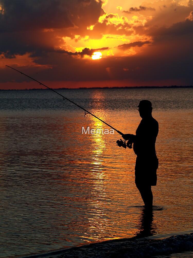 Bob Fishing at Sunset by Memaa