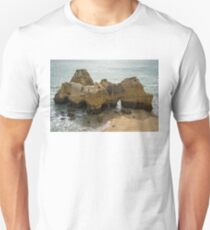 Colorful Gnarled Sea Stacks and Arches from Above T-Shirt