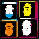 LEO TOLSTOY - RUSSIAN NOVELIST - WARHOL-STYLE 4-UP COLLAGE ILLUSTRATION by Clifford Hayes