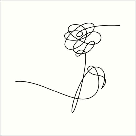 """BTS LOVE YOURSELF 'HER' FLOWER BLACK"" Art Prints by"