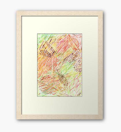 2413 - Golden Autumn Leaves Falling Gerahmtes Wandbild
