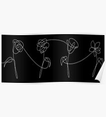 BTS FOUR FLOWERS WHITE Poster