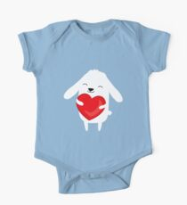 Cute cartoon bunny rabbit holding heart Kids Clothes