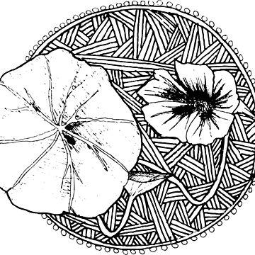 Nasturtium flower zentangle by FrejaFri