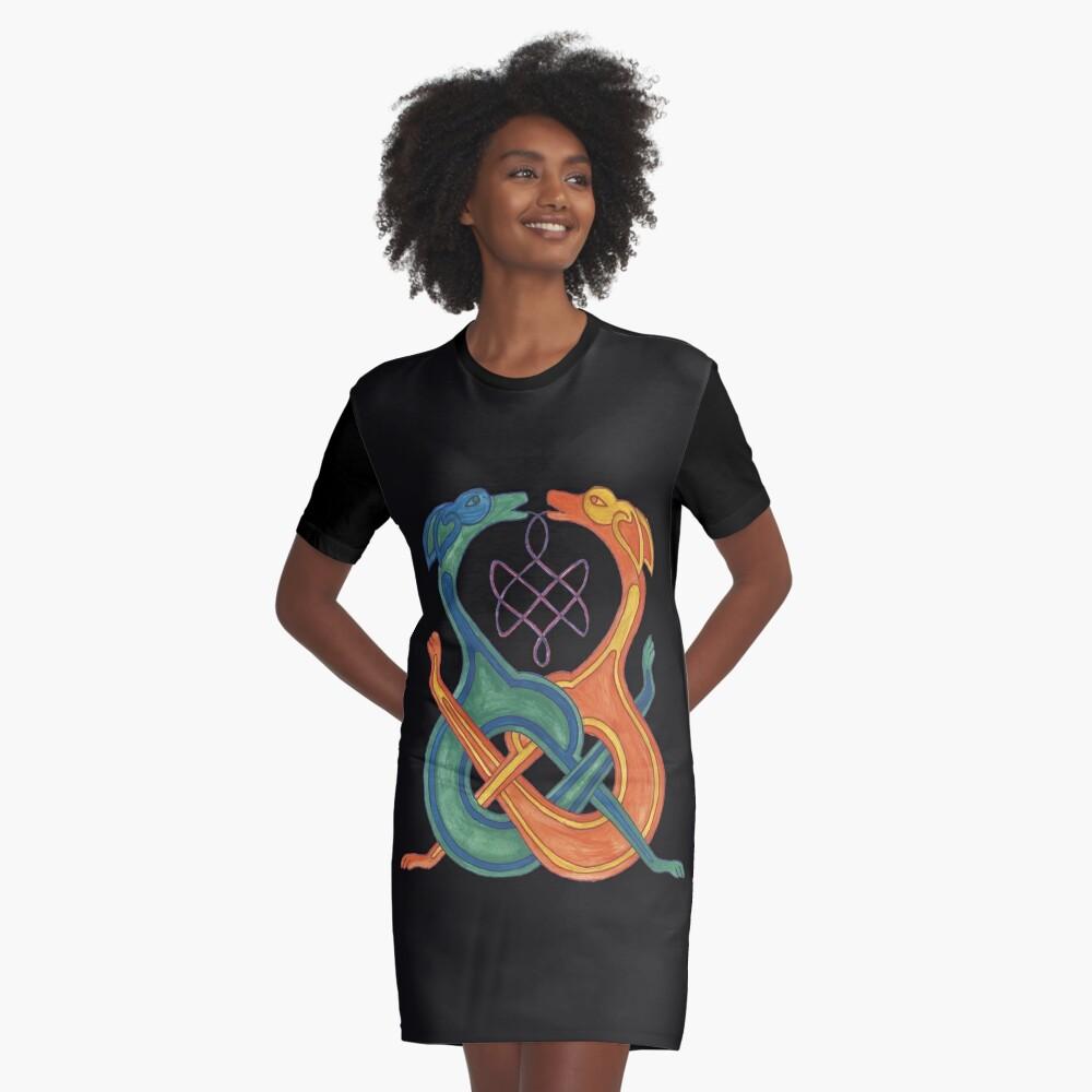 Entwirrte Celtic Knotwork Dogs T-Shirt Kleid