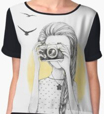Girl with vintage camera Women's Chiffon Top