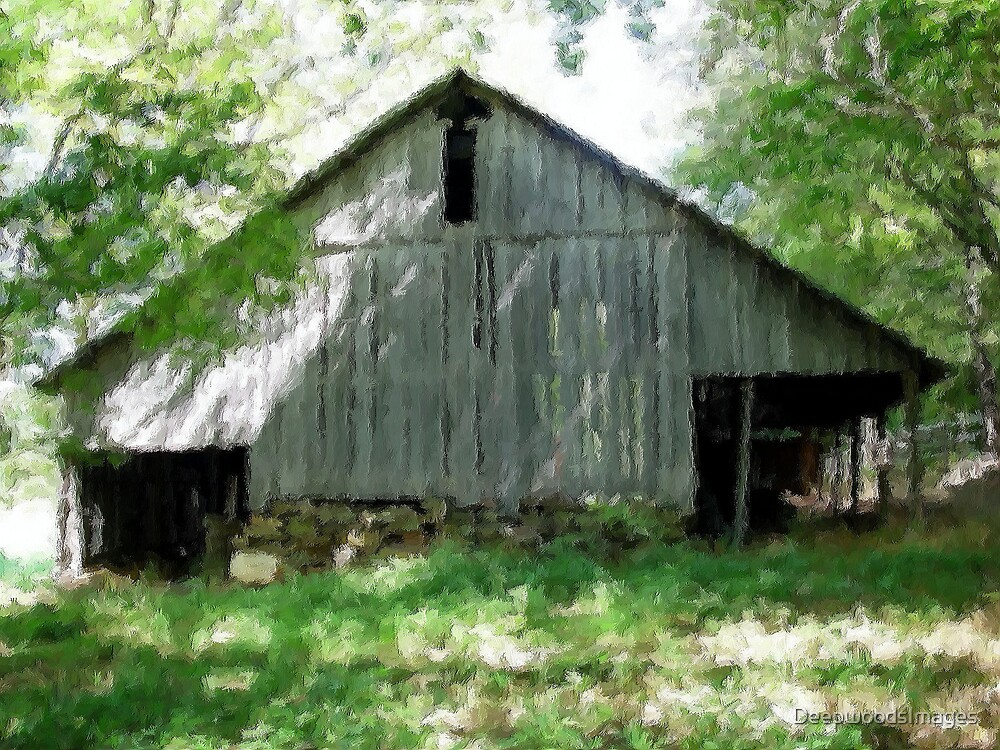 Oil Paint of a barn in the Ozarks by DeepwoodsImages
