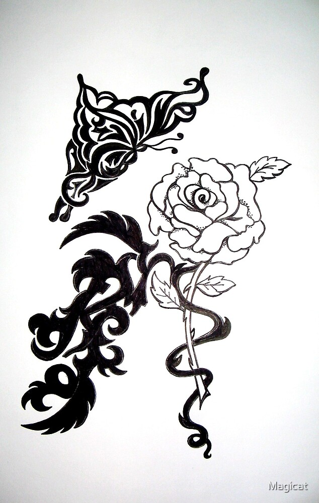 Tribal Butterfly Rose by Magicat