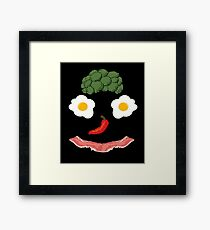 Bacon and Eggs Funny Breakfast Happy Face  Framed Print