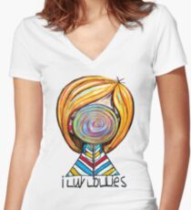 I LUV LOLLIES! Women's Fitted V-Neck T-Shirt