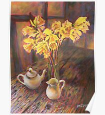 Still life with daffodils painting Poster