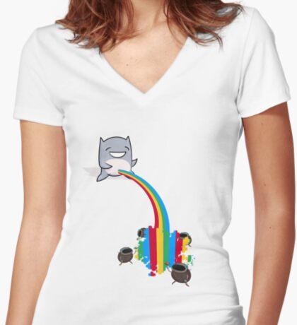_Bonus Level_ Peebow VS Bugs Women's Fitted V-Neck T-Shirt