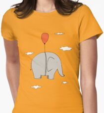Elephant with a red balloon Women's Fitted T-Shirt