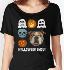 Funny Bull dog face on Halloween emoji shirt Women's Relaxed Fit T-Shirt