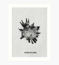 Barcelona, Spain Circular Black and White Skyline Painting Art Print