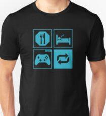 Camiseta ajustada Comer, dormir, jugar, repetir.