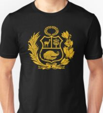 Peru T-Shirt Peruvian Coat of Arms Gold T-Shirt