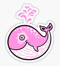 Pink Smile Whale character Sticker