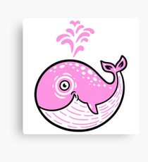 Pink Smile Whale character Canvas Print