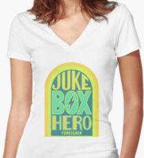 Foreigner Juke Box Hero Women's Fitted V-Neck T-Shirt