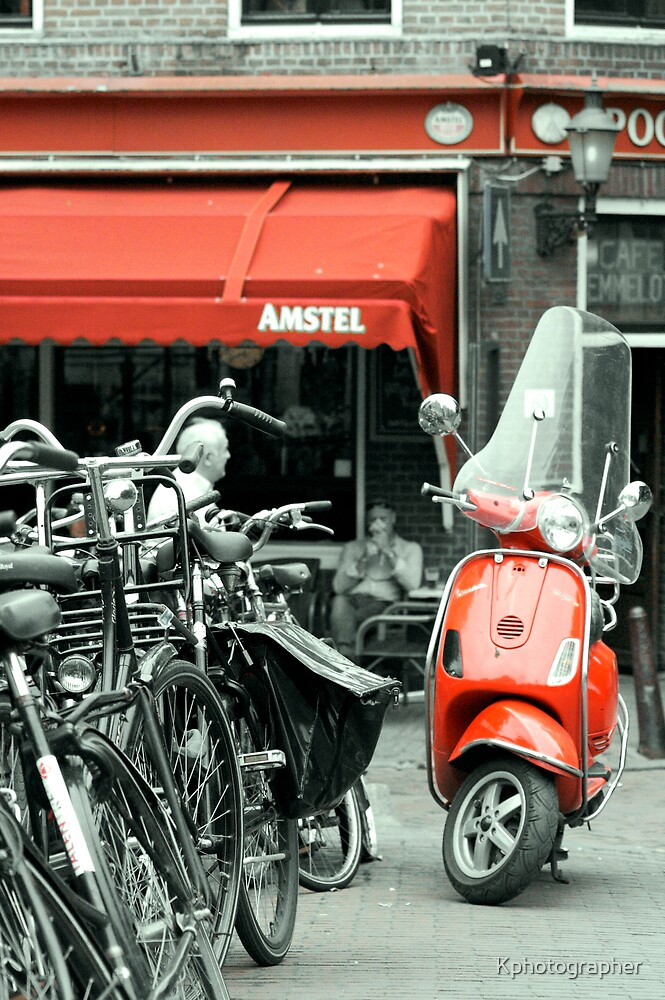 Red Moped by Kphotographer
