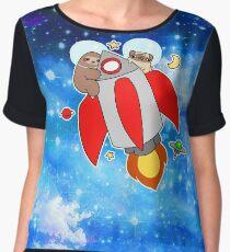 Rocket Ship Sloth Pug Night Sky Women's Chiffon Top