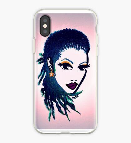 Natürliche Frauen natürliche Haare Zöpfe lila Lippen iPhone-Hülle & Cover