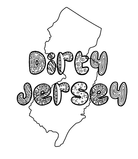 """State Outline - """"Dirty Jersey"""" by Nicole-Owens"""