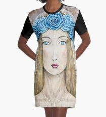 Blue Rose Priestess Graphic T-Shirt Dress