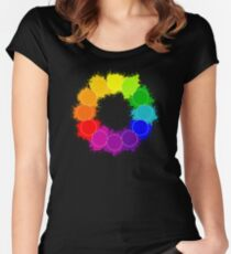 Color Wheel for Art Teachers, Artists, Painters Women's Fitted Scoop T-Shirt