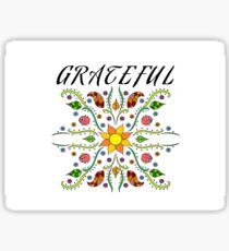 Grateful (Black and White Linework with Color) Sticker
