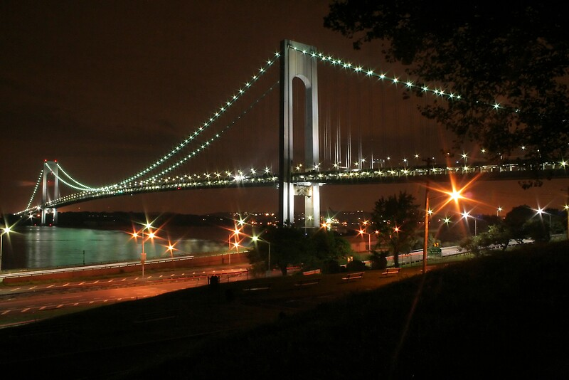 """Verrazano Bridge at Night"" by jimwellman | Redbubble"