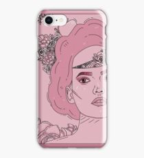 Pink flower girl digital drawing iPhone Case/Skin