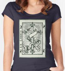 Ex Libris Cross Banner & Fleur De Lys Women's Fitted Scoop T-Shirt