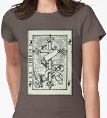 Ex Libris Cross Banner & Fleur De Lys Womens Fitted T-Shirt
