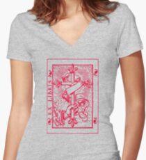 Cross Banner & Fleur De Lys Women's Fitted V-Neck T-Shirt