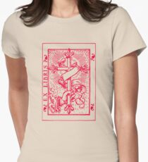 Cross Banner & Fleur De Lys Womens Fitted T-Shirt