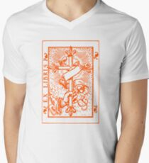 Cross Banner & Fleur De Lys Men's V-Neck T-Shirt