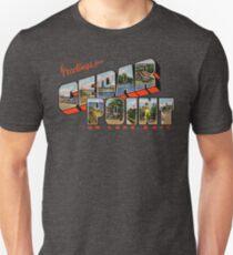 Camiseta unisex Saludos desde Cedar Point en el lago Erie