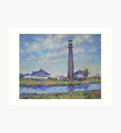 Port Bolivar Lighthouse and Outbuildings Art Print