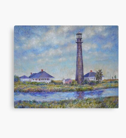 Port Bolivar Lighthouse and Outbuildings Canvas Print