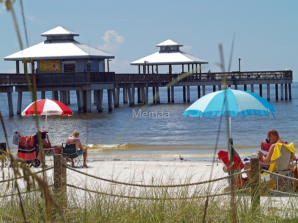 Umbrellas and Pier  by Memaa