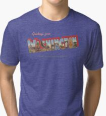 Greetings from Washington the Evergreen State Tri-blend T-Shirt