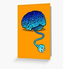 Your Brain without Coffee - Blue Greeting Card