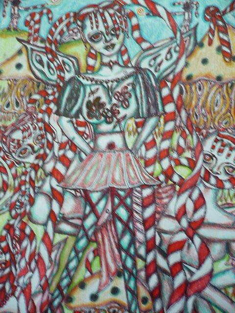 Alice and here Sisters In Wonderland by Trinaart