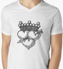 Three Hearts Crown & Dagger Men's V-Neck T-Shirt