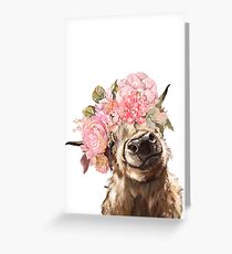 Highland Cow with Flower Crown Greeting Card